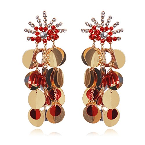 Country Western Dance Competition Costumes (Women Tassel Sequins Dance Earrings Ear Stud Fashion Jewelry Long, Red)