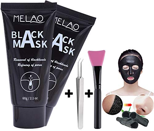 Blackhead Remover Mask Black Mask Purifying Peel Off Mask Activated Charcoal Mask, Oil Control, Anti-Aging and Wrinkle Reduction, 2 Pack, with Brush Kit and Remover Tool as Gifts