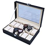 Reloj Caja Organizador Escritorio Armario Negro Caja de Reloj de Piel PU con Terciopelo Suave Regalo para Hombre y Mujer