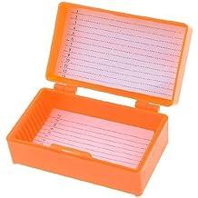DealMux 8cm x 4.5cm Chemical Experiment 12 Slides Microscope Box Orange