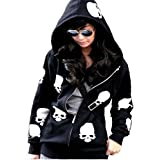 Urparcel Womens Fashion Skull Hoodies Outwear Zip Up Hooded Coats Jackets(L,Black)