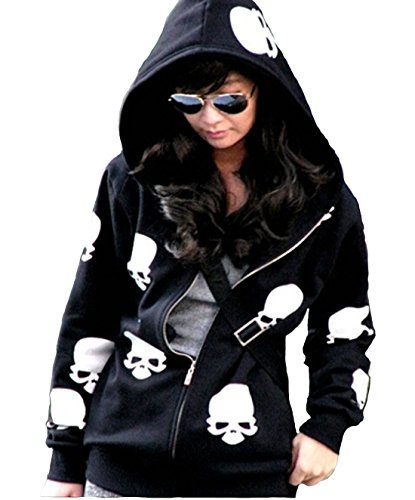Urparcel Womens Fashion Skull Hoodies Outwear Zip Up Hooded Coats Jackets(XL, Black)