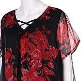 kaifongfu Clearance Women Plus Size Short Sleeve Shirt Tops Criss Cross Chiffon Blouse (XXXXL, Red)