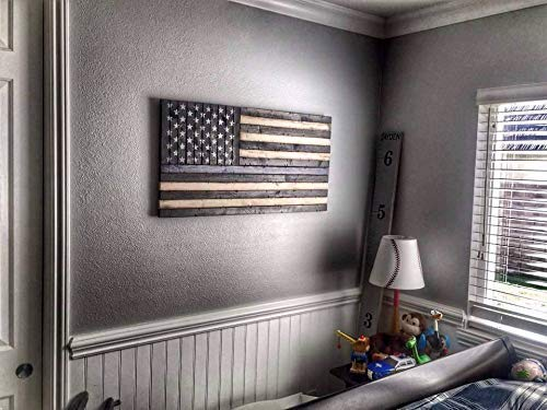 Rustic Wooden Thin Blue Line American Flag 19 x37