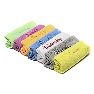 "Microfiber Face Towels Washcloths (7-Pack 12x12"") - Soft, Fast Drying Cleaning Towel,Fit for Multi-Purpose Exfoliating, Highly Absorbent Extra for Hand, Gym ,Spa &Travel or General House Cleaning."