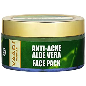Vaadi Herbals Herbal Face Pack Cream All Natural Paraban Free Sulfate Free Good For All Skin Types (Oily, Dry, Normal, Sensitive) 2.47 Oz Premium Quality (Anti-Acne Aloe Vera Face Pack)