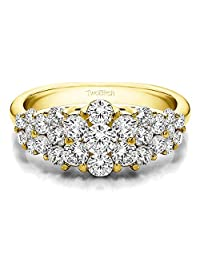 10k Yellow gold Lady Ring Charles Colvard Created Moissanite(1.45Ct)Size 3 To 15 in 1/4 Size Intervals