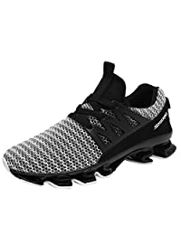 GOMNEAR Running Lightweight Shoes Mens Breathable Non-Slip Outdoor Lace-up Sport Walking Sneakers