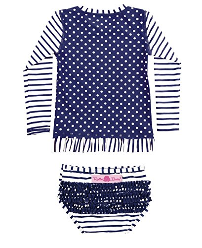 RuffleButts Infant / Toddler Girls Navy Striped Polka Long Sleeve Rash Guard Bikini - Blue - 12-18m