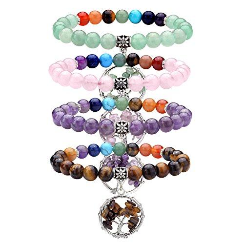 Top Plaza 7 Chakra Healing Stone Beads Stretch Bracelet with Tree of Life Charm Gemstone Meditation Balancing, Set of (Amethyst Beaded Charms)