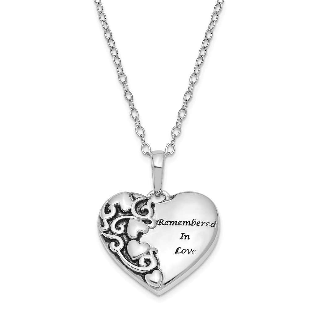 Jewelry Best Seller Sterling Silver Antiqued Remembered in Love 18in. Necklace