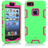 iPhone 5S Case, iPhone SE Case, iPhone 5 Case, VPR 3 in 1 Shock Absorbing Case, Rubber Combo Hybrid Impact Silicone...