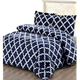 Printed Comforter Set with 2 Pillow Shams - Luxurious Soft Brushed Microfiber - Goose Down Alternative Comforter by Utopia Bedding (Navy, Queen)