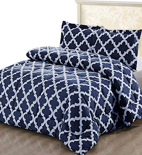 Utopia Bedding Printed Comforter Set (Queen, Navy) using 2 Pillow Shams - Luxurious brushed Microfiber - Goose affordable preference Comforter - very soft and far more comfortable - device Washable Black Friday & Cyber Monday 2018
