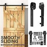 Yaheetech 8Ft Barn Door Kit Hanger Rail Track Set Sliding Wood Door Hardware Black