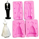 WYD 2PCS Wedding Dress Mold Cooking Decoration Tools Silicone Fondant Molds Cake Decoration Tools Soap Candle Molds