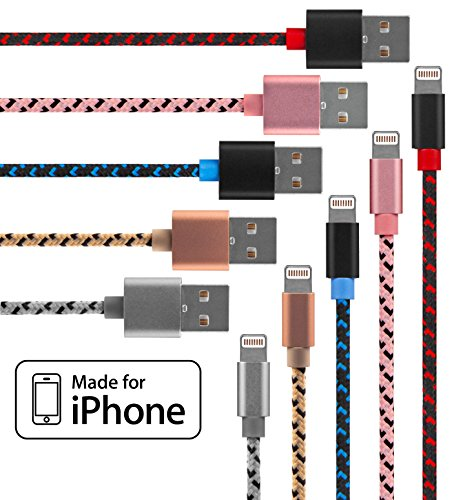 Lightning Cable for iPhone 5 Pack Braided in Red, Blue, Silver, Gold & Pink - Cable w/ Lightning Connector - Lightning to USB cable / Cord for iPhone Compatible with iPhone 6 & 5