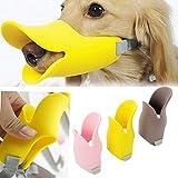 Dog Muzzle Quack Anti Bite Duck Mouth Shape Muzzle Masks Pet Mouth Eat-proof Silicone Material (L, Yellow)