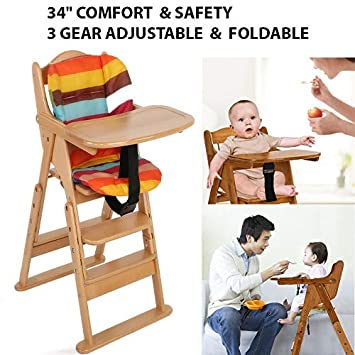 Amazon.com: Silla alta de madera para bebé de 34 pulgadas ...