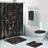 Philip-home 5 Piece Banded Shower Curtain Set Safari by Wild African Animal Big Cat Lion Carved on Wooden Board Boho Work Fabric Teal Brown Pattern Printing Suit