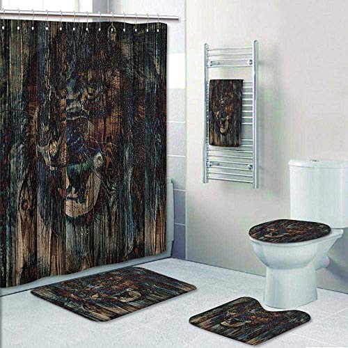 Philip-home 5 Piece Banded Shower Curtain Set Safari by Wild African Animal Big Cat Lion Carved on Wooden Board Boho Work Fabric Teal Brown Pattern Printing Suit by Philip-home