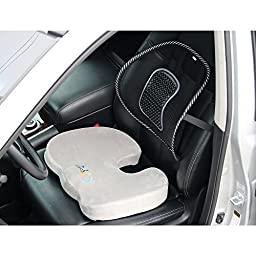 Memory Foam Seat Cushion & Mesh Lower Back Support Bundle: Orthopedic Design - Relieves Coccyx & Tailbone Pain - Improves Posture - Portable Compact Washable - Comfort At Home Work Car