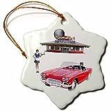 3dRose Boehm Graphics Food - Classic Car Dining Restaurant - 3 inch Snowflake Porcelain Ornament (orn_274684_1)