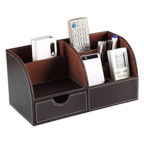 Multifunctional PU Leather Office Desk Organizer Business Card/Pen/Pencil/Mobile Phone/Stationery Holder Storage Box - Brown Phone