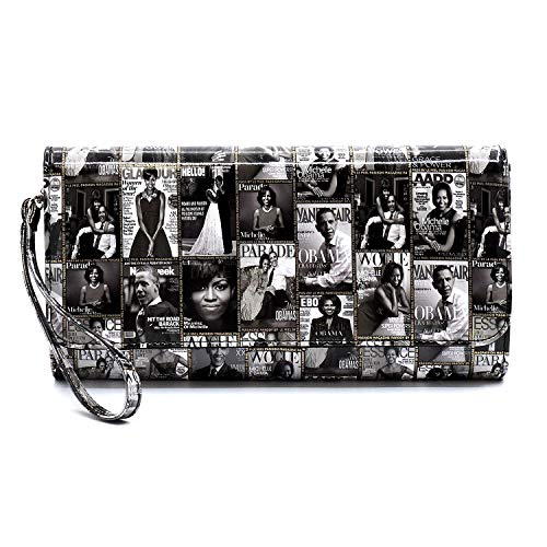 Glossy magazine cover collage clutch bag purses Michelle Obama bags with chain shoulder strap (Classic-GREY)