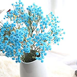 Vibola® Four seasons sky star flower Artificial Silk Fake Flowers Baby's Breath Floral Wedding Bouquet Party Decors(Vase not included) (Blue) 70