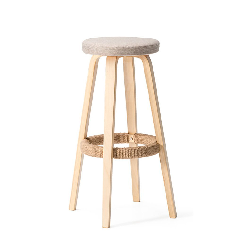 E  2 AIDELAI Bar Stool Chair- Solid Wood Bar Chairs Round High Stool Bar Stool Home Bar Chairs Coffee Phone Shop Stool Bar Chairs Saddle Seat (color   G, Size    1)