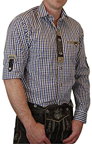 Hochwertiges OS Trachtenhemd Harry in verschiedenen Ausführungen, Größe:Halsgröße 41/42 (L);Farbe:mittelbraun - blau