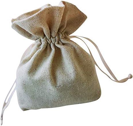 ギフトバッグの-10枚、再利用可能な環境に優しいプロセス平野少し綿巾着袋、宴会/結婚式/クリスマスギフトバッグ、11.5センチメートル×12.5センチメートル ギフトバッグ
