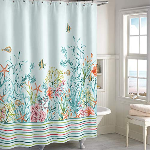 (CHF Cozumel Coastal Fabric Shower Curtain for Bathroom, 72 x 72 inches, Aqua)
