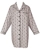 RocketWear Cream Floral Long Sleeve Cotton Flannel Button Front Night Shirt/Robe
