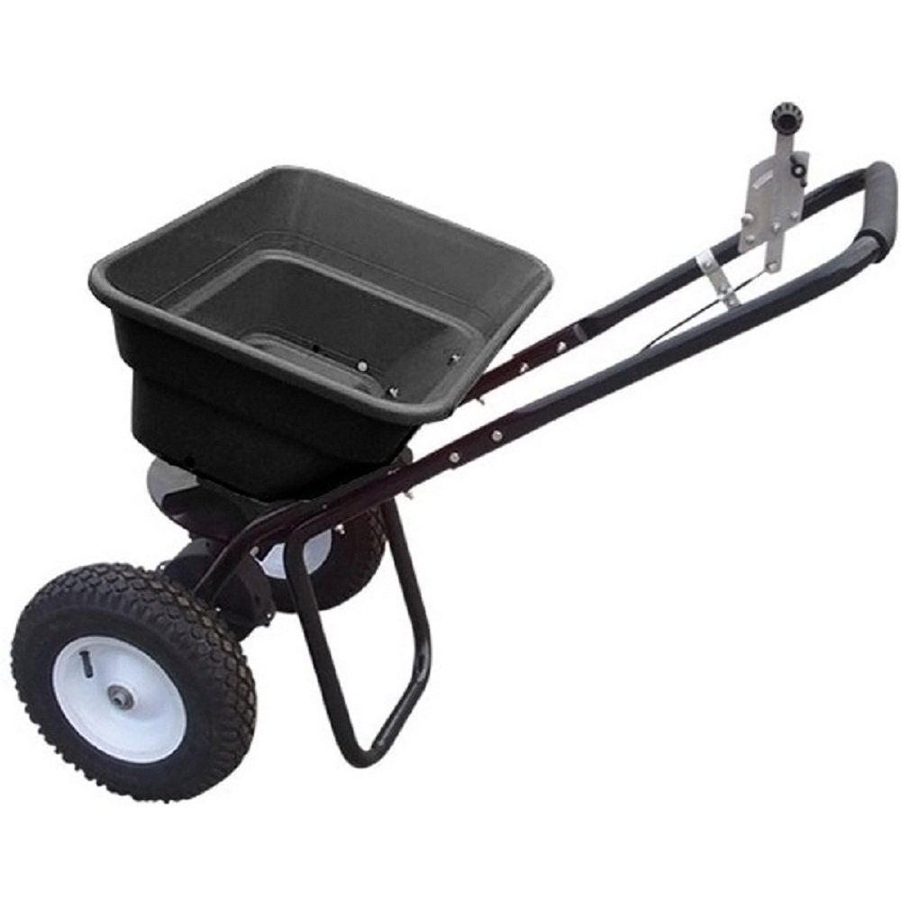80 Pound Push Broadcast Spreader Lbs Seed Lawn Pneumatic Wheels Grass Feed Rock by JDM Auto Lights