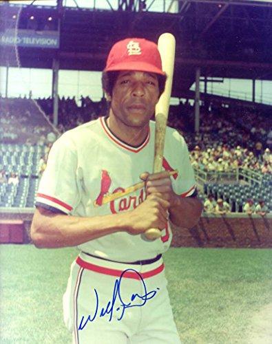 (Willie Davis (D. 2010) Autographed/ Original Signed 8x10 Color Photo Showing Him with the St. Louis Cardinals)