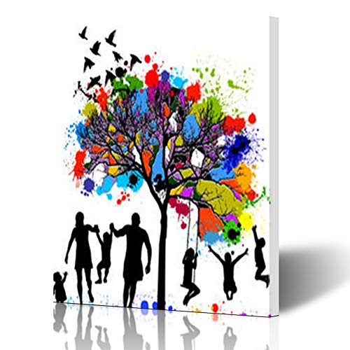 DaniulloRU Painting Canvas Wall Art Print Colored Tree Family Child People Colorful Modern Artwork 12 x 16 Home Decor Bedroom Living Room (Diversity Poster Pack)
