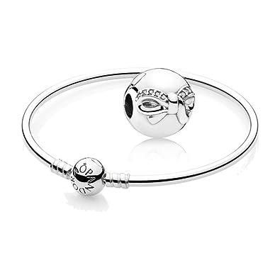 e3b3b8308 Original Pandora starter set - 1 PANDORA Moments Charm Bangle 590713-21 and  1 Dainty Bow Charm 791777CZ: Amazon.co.uk: Jewellery