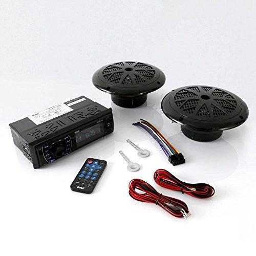 Marine Headunit Receiver Speaker Kit - In-Dash LCD Digital Stereo Built-in Bluetooth & Microphone w/ AM FM Radio System 5.25'' Waterproof Speakers (2) MP3/SD Readers & Remote Control - Pyle PLMRKT46BK