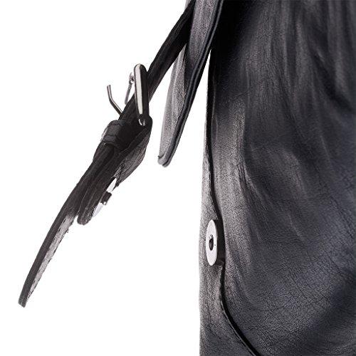 Bolso bandolera Messenger de verdadera piel arrugada Vintage Retro DUDU Negro
