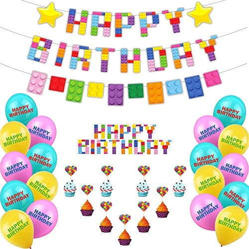 Heidman Building Blocks Themed Birthday Party Supplies Kit Brick and Block Colorful Birthday Party Decorations for Kid Boy Girl Include Banner Cake Topper Balloon 33pce