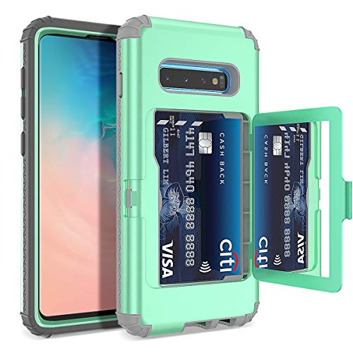 S10 Plus Wallet Case - WeLoveCase Defender Wallet Card Holder Cover with Hidden Mirror Three Layer Shockproof Heavy Duty Protection All-Round Armor Protective Case for Samsung Galaxy S10+ Plus Mint