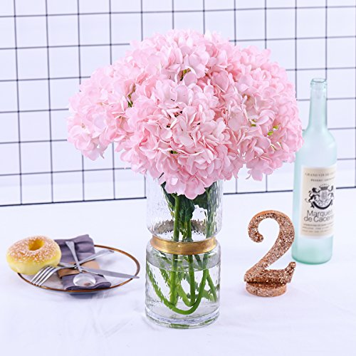 Hydrangea Small (PARTY JOY 5PCS Artificial Hydrangea Silk Flowers Bouquet Faux Hydrangea Stems For Wedding Centerpieces Home Decor (Pink, 5))