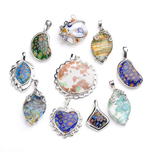 ARRICRAFT 10pcs Mixed Shape Handmade Millefiori Glass Pendants Mixed Color Brass Charms for Necklace Making