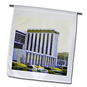 Jos Fauxtographee Realistic - A Building in Vegas with cars parked in a lot of pale yellow and purple - 18 x 27 inch Garden Flag (fl_59680_2)