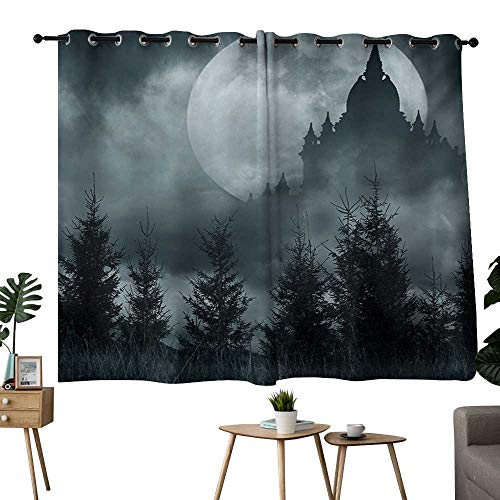 NUOMANAN Window Curtains Halloween,Magic Castle Silhouette Over Full Moon Night Fantasy Landscape Scary Forest,Grey Pale Grey,Blackout Thermal Insulated,Grommet Curtain Panel Set of 2 52