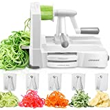 URPOWER Spiralizer Vegetable Slicer 5-Blade Vegetable Spiralizer, Strongest & Heaviest Duty Zoodle Maker, Food Processor, Veggie Pasta, Spaghetti Maker & Julienne Cutter for Low Carb/Paleo/Gluten-Free