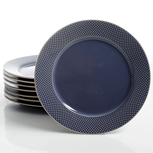 Embossed Blue Dots - Gibson Elite Lilith 8 Pack Dinner Plates with Embossed Dots, Blue