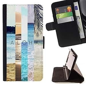 Momo Phone Case / Flip Funda de Cuero Case Cover - Nature Teal Peach Sun - Huawei Ascend P8 (Not for P8 Lite)